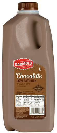 chocolate milk 1 lowfat halfgallon darigold