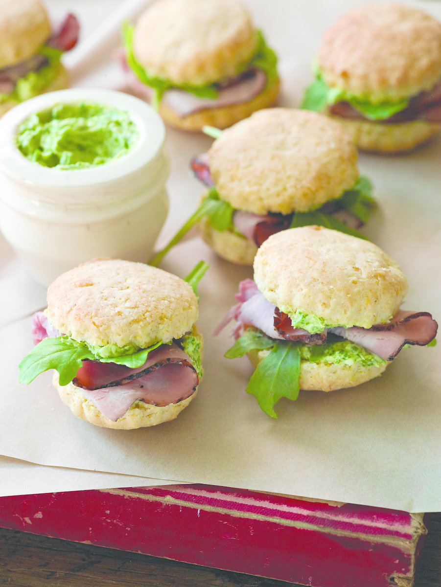 Mini-Biscuits-with-Ham-and-Parsley-Butter